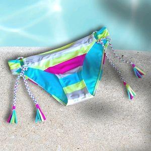 Gossip Neon Striped Braided Side Tie Bikini Bottom